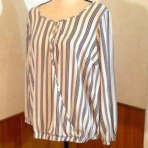 TORRID Faux Wrap Striped Top Elastic waist Blouse